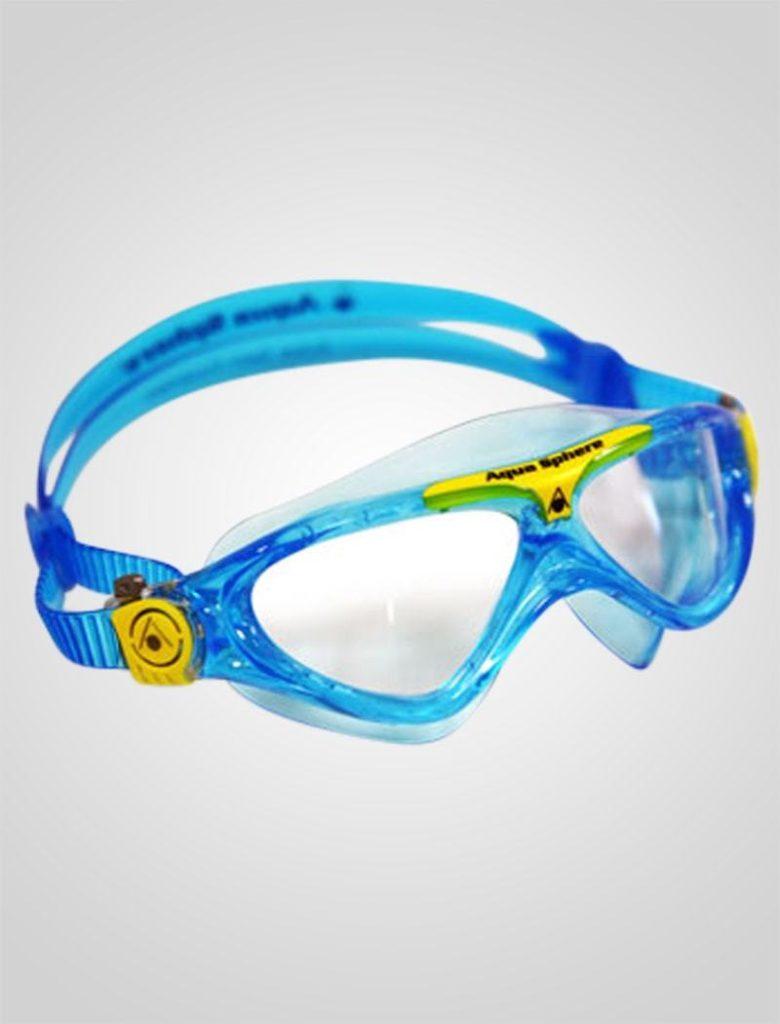 Aqua Sphere Vista Junior med klar linse, er et eksempel på en god dykkerbrille til leg og plask.